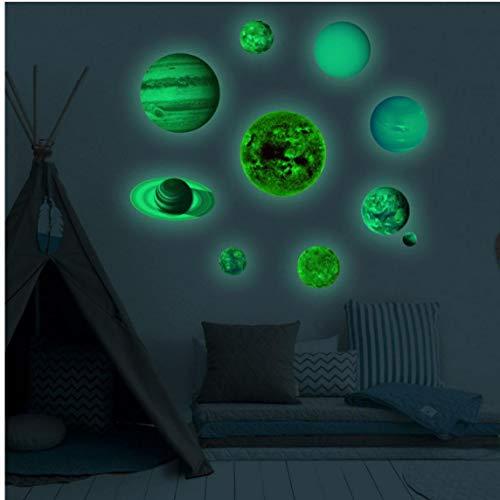 10pcs Planète Système Solaire Fluorescent Mur Bâton Univers Planète Enfants Chambre Chambre Lumineuse Stickers Muraux 3d Grande Lune Fluorescent Mur Autocollant Amovible Phosphorescent Sticker Planète