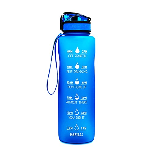 Botella de Agua Deportiva de 1 litro / 32 oz con Marcador de Tiempo Motivacional, Filtro de infusor de Frutas y Cepillo de Limpieza, a Prueba de Fugas, sin BPA, Clic para Abrir con Cerradura