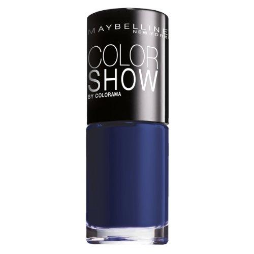 Maybelline New York Make-Up Nailpolish Color Show Nagellack Marinho / Ultra glänzender Farblack in tiefem Ozeanblau, 3 x 7 ml