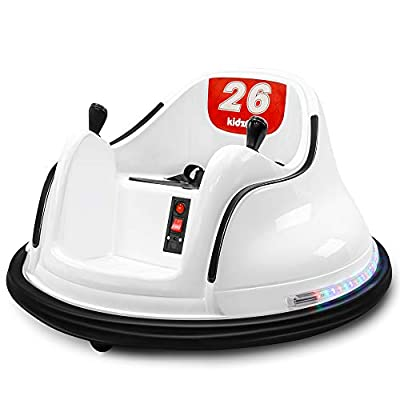 Kidzone DIY Race #00-99 6V Kids Toy Electric Ride On Bumper Car Vehicle Remote Control 360 Spin ASTM-Certified, White