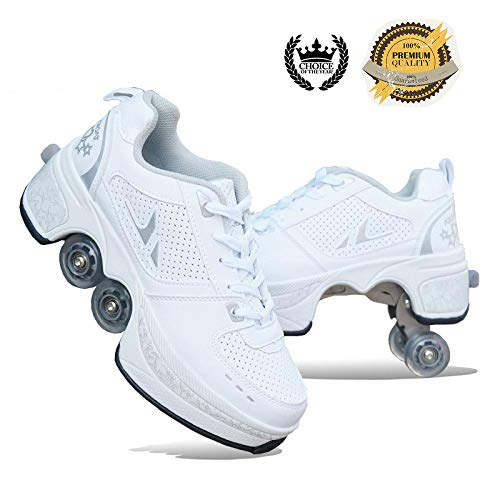 SHANGN Inline-Skate, 2-in-1-Mehrzweckschuhe, Verstellbare Quad-Rollschuh-Stiefel,White-39
