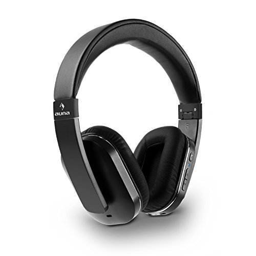 auna Elegance - Bluetooth-Kopfhörer, Bluetooth-Headphones, Wireless-Headphones, Bluetooth 4.0, aptX, Freisprech-Funktion, Funktionstasten, NFC, 14h Betriebszeit, faltbar, schwarz