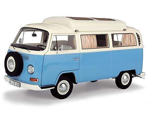 Schuco 450043500 VW T2a, Campingbus, Modellauto, limiterte Auflage, 1:18, blau/weiß