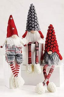 Mud Pie Christmas Home Decor Dangle Leg Gnome Sitters 3-pc Set Pinecone Hat 9