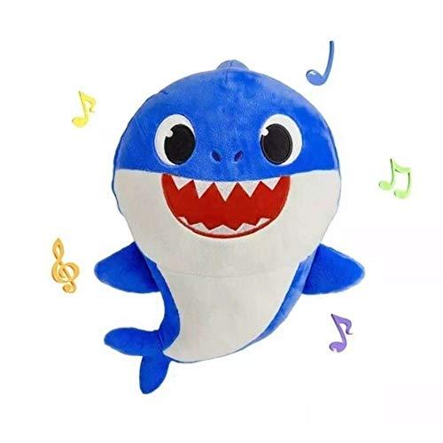 Pelúcia Baby Shark 25 Cm Azul Com Som