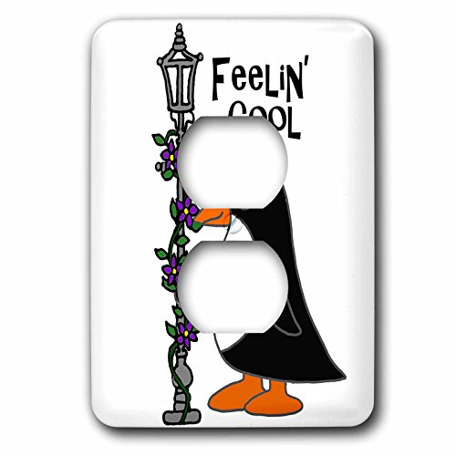 3dRose lsp_260855_6 Funny Cute Penguin Feeling Cool with Lamp Post Plug Outlet Cover, Mixed