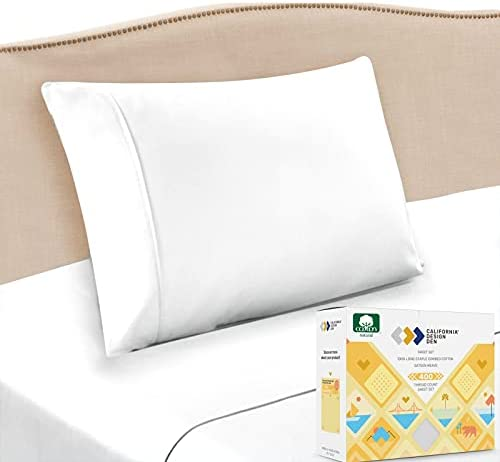 """100% Cotton Sheet Set, Pure White Bedding Sets Twin Size 3 Piece Set 400 Thread Count Long-Staple Combed Pure Natural Cotton Bedsheets, Soft & Silky Sateen Weave Fits Mattress 15"""" Deep Pocket"""