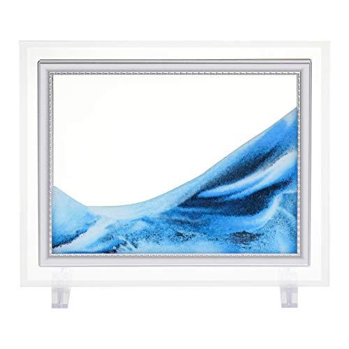 "LYPGONE Sand Art Liquid Sand Art Bubbler Moving Hourglass Sand Art Picture Calm Relaxing Desk Toys for Office and Home Decor Desktop Sand Art Desktop Art Voted Ideal Gift! Size 7""x 5"""