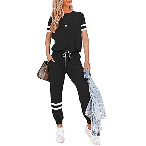 Litthing Conjunto Chándal de Mujer Chandal Completo 2 Piezas Deporta Ropa de Manga Corta y Pantalones Mujer Casual para Yoga Set Suave y Cómodo (Negro, M)