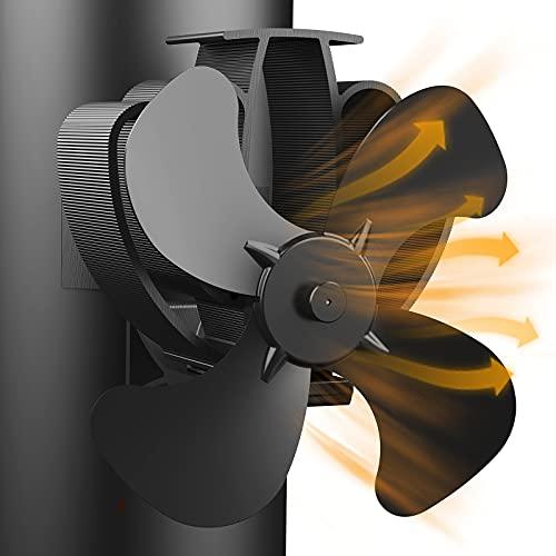 Ventiladores para Chimeneas, Ventilador de Estufa 4 Palas/Respetuoso del Medio Ambiente, Distribución Eficiente del Calor, Ventilador Chimenea Magnético para Estufas de Leña/Estufas/Chimeneas