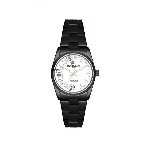 Zadig & Voltaire - Reloj Unisex de Cuarzo con Esfera Blanca de 36 mm y Correa Negra de Acero Inoxidable ZVF415