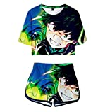 ZMZZF Chándales,Regalo De Anime My Hero Academia Camisetas De Mujer Estampadas Pantalones Cortos De Manga Corta 2 Piezas Ropa Deportiva Unisex Color 1 Mezcla De Colores Xl