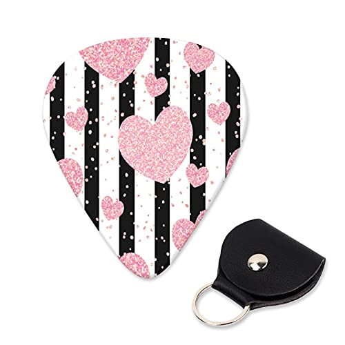 EILANNA Guitar Picks Romantic rose gold glitter hearts on black stripes seamless pattern Trendy Guitar Plectrums for Your Electric,Acoustic,Ukulele,or Bass Guitar,Guitar Pick Grip 6pcs