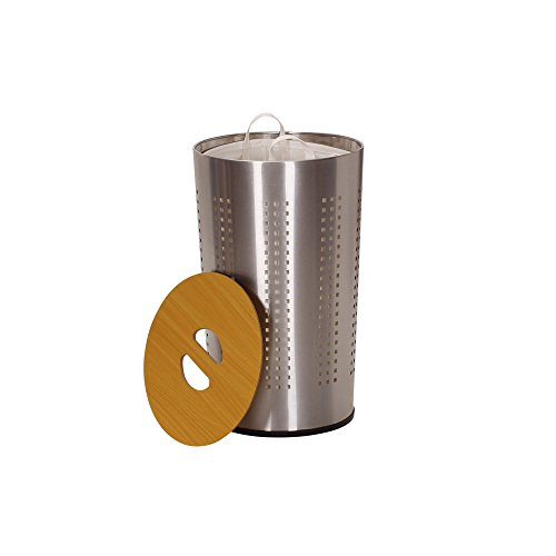 Household Essentials 7081-1 Round Metal Laundry Hamper - Removable Liner Bag and Wood Lid - Stainless Steel