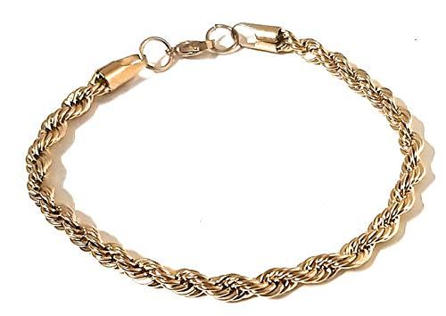 Mavijewel Pulsera para hombre y mujer trenzada color oro en acero #Idea regalo # Caja Incluida # Emocional # Charms # Made in Italy # Envío gratuito