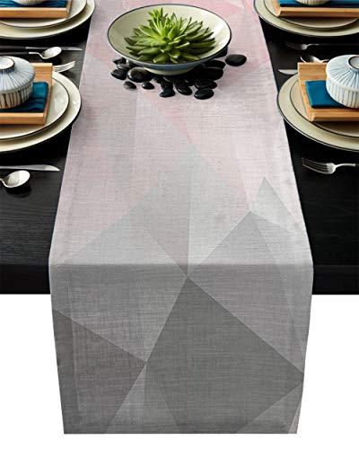 QAZQAZ Geométrico Rosa Gris Degradado triángulo Rosa Camino de Mesa Moderno Lino algodón Mesa Bandera hogar Boda Fiesta Comedor decoración-46x183cm