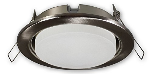 LED Einbaustrahler GX53 230 V alu gebürstet (Edelstahl Optik) | Einbauleuchte Spot Strahler inkl. 5 W GX53 LED Leuchtmittel warmweiß | Deckeneinbaustrahler Deckeneinbauspot Einbauspot