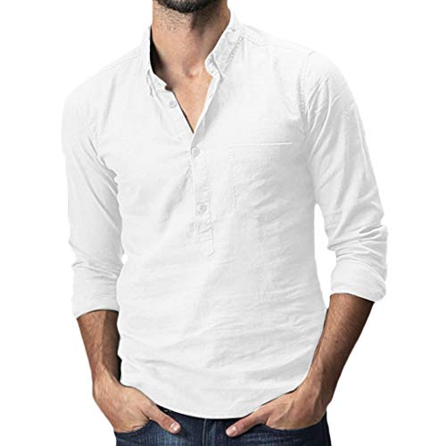 DNOQN Polo Shirt Männer Longsleeve Weiß Herren Baggy Cotton Linen Solide Pocket Langarm Umlegekragen T-Shirts Tops XL