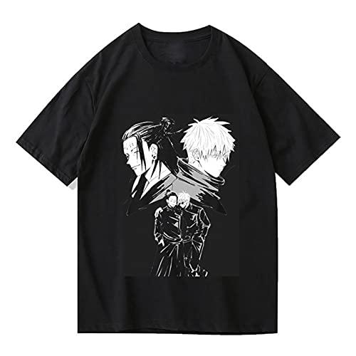 EDMKO Unisex T-Shirt Jujutsu Kaisen de Anime Camiseta 3D Impresión Gojo Satoru Getou Suguru Manga Corta Hombres Pullover Tops de Cosplay,Negro,M