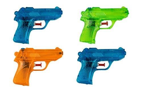 BG Wasserpistole Spielzeug für Kinder - 4 Mini Wasserpistolen mit großer Reichweite für Strand Urlaub Pool Partys und Aktivitäten im Freien - Nerf Super Soaker Water Gun Spritzpistolen (12cm)