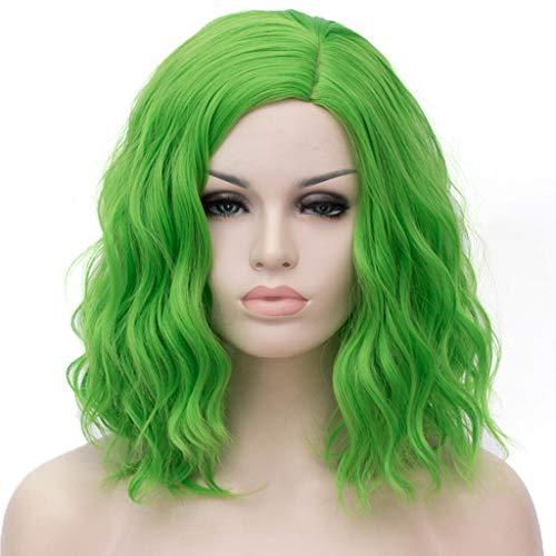ATAYOU® Frauen Kurze Wellige Lockige Grün Synthetische Bob Perücken Hitzebeständige Cosplay Halloween Perücke 14 Zoll (A)