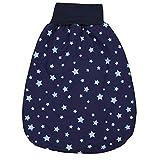 TupTam Baby Unisex Strampelsack mit breitem Bund Wattiert, Farbe: Sterne Blau/Dunkelblau, Größe: 6-12 Monate