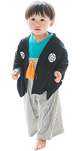 紋付袴(はかま)風 ベビー羽織付きロンパース 【247153】60cm ブラック