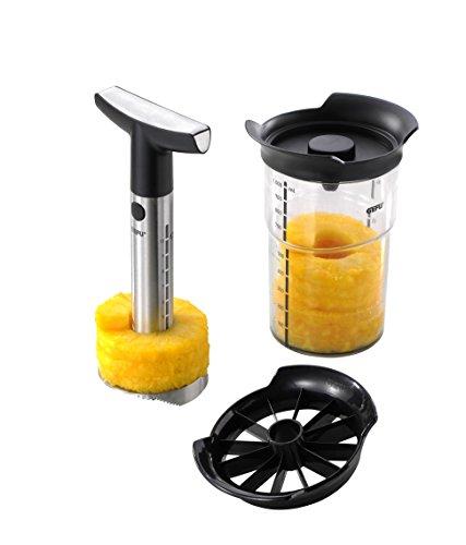 GEFU 13550 Ananasschneider Professional Plus - Messer und Schäler Set für Ananas - Edelstahl Schneider mit Behälter