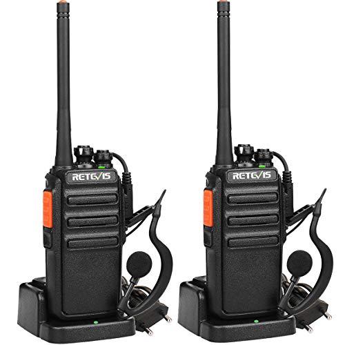 Retevis RT24 Funkgerät, PMR446 Funkgeräte Set Lizenzfrei, 16 Kanäle CTCSS/DCS VOX, Walkie Talkie mit Headset und EU-Stecker Ladeschale (2 Stk.,Schwarz)