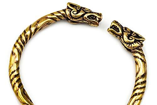 Windalf Unisex Vintage Vikings Armreif Thora Ø 5.7 cm Ethno Bohemia Drachen Armschmuck Hochwertige Bronze