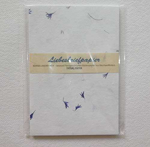 paperfreak: KornBlumenPapier > Liebesbriefpapier < handgeschöpft 'A5-' 20 Bogen Büttenpapier für Handschrift und Drucker Echtblütenpapier