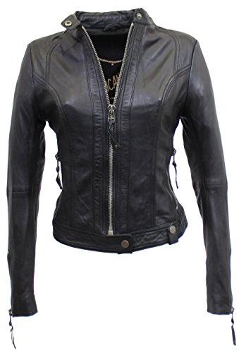 RICANO Nena-4, Damen Lederjacke (Slim Fit) aus echtem Lamm Nappa Leder in schwarz (L)
