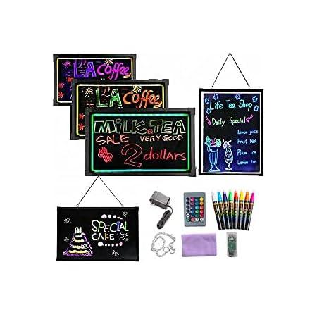"LED Message Writing Board, 16"" x 12"" Flashing Illuminated Erasable Neon Effect Menu Sign Board, Kids Doodle Painting Board, LED Light Drawing Writing Board, for Boys Girls Birthday Christmas Gift"