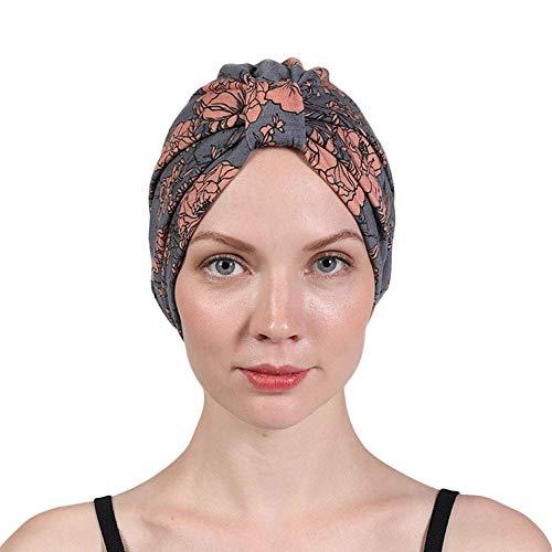 Women's Turban Cotton Double Layer Satin Liner Chemo Cap Flower Print Beanie Head wrap Cap Sleep Bonnet