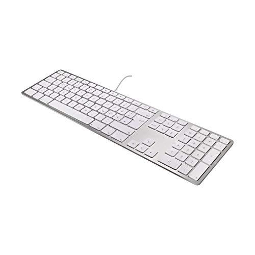 Matias FK318S-DE Aluminium Erweiterte USB Tastatur/Keyboard für Apple Mac OS | QWERTZ | Deutsch | mit reaktionsschnellen Flache Tasten und zusätzlichem Ziffernblock | Silber/Weiß