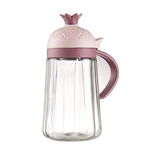 YAWEN Dispensador de aceite, botella de vidrio de aceite de oliva, dispensador de vinagre, 50 0ML Contenedor de condimento a prueba de fugas con tapa, bujía no goteo, mango antideslizante para cocinar