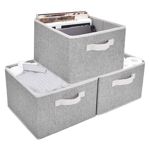 StorageWorks Large Closet Organizers with Handles, Rectangular Storage Baskets for Shelves, Foldable Closet Storage Bins for Linen Closet, 3-Pack, Gray