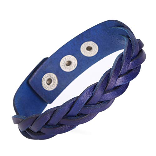 CCBFY Genuine Leather Bracelet Braided Sporty Wide Wristband Punk Jewelry for Men Women Blue