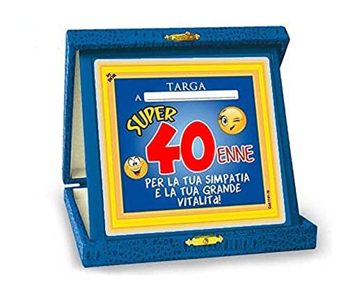 TARGHETTA TROFEO 40 ANNI Gadget idea regalo festa 40° Compleanno Targa SCHERZO