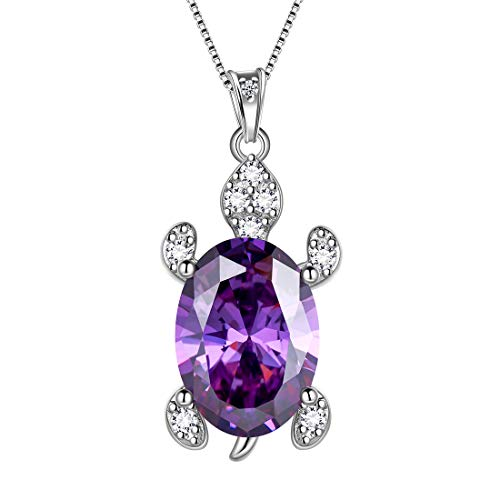 Aurora Tears Purple Turtle Necklace Women 925 Sterling Silver February-Amethyst Birthstone Sea Animal Pendant Turtle Crystal Cubiz Zirconia Birth Stone Jewelry Birthday Gift DP0240F