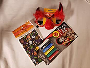 SPOOKY VILLAGE SCHOOL HALLOWEEN PARTY KIT WITH COSTUME GLASSES WASHABLE NO MESS NO FUSS MAKEUP CRAYONS AND 40 PCS TREAT BAGS