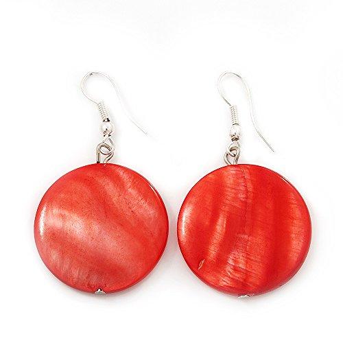 Orecchini finitura in argento a forma di moneta rosso mattone conchiglia – lunghezza 4 cm.