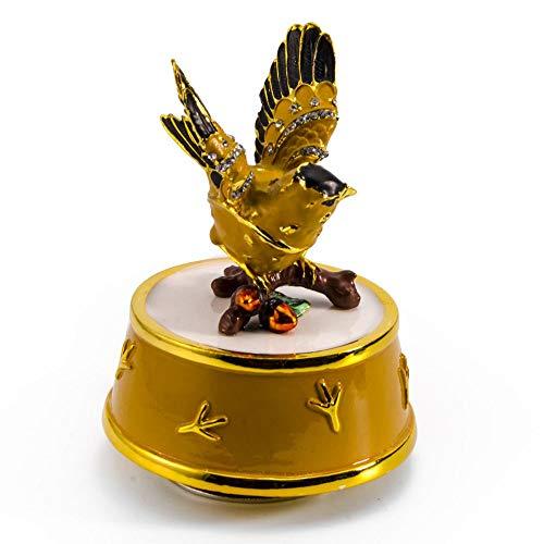 Juwelen gouden vink vogel met gele en gouden accenten roterende muzikale Keepsake - meer dan 400 liedjes keuzes