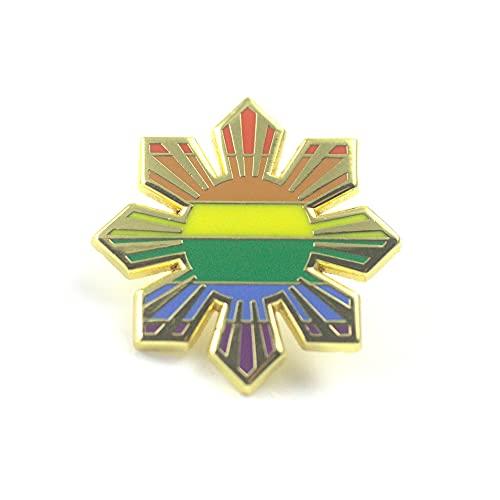 Philippines Country Enamel Pin, Filipino Sun heritage Pinoy Pride culture (Rainbow Sun)