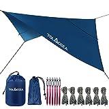 Tolaccea Bâche Anti Pluie Camping Tarp Rain Fly Anti UV 50+ Toile d'ombrage Tente Imperméable Abri de...
