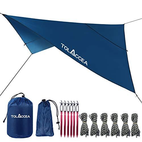 Tolaca Toldos Camping Impermeables Exterior Lonas 3 x 3 m Tarp Protector Solar UV 50 + Portátil Ligera para Piscinas Playa Sombra Hamaca Tienda de Campaña Acampada Refugio Al Aire Libre