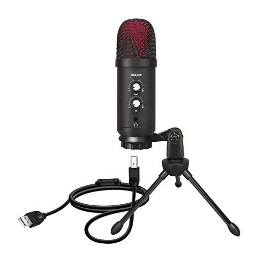 USB Mikrofon,Metal Condenser Microphone with Tripod Stand, Pop Filterfor Laptop MAC or Windows Cardioid Studio Recording Vocals, Gaming, Streaming, Podcasting, YouTube, Skype, Twitch, Discord