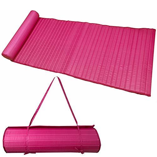 JEMIDI leicht gepolsterte (190g) Strandmatte Schwimmbadmatte 58cm x 180cm wahlweise mit Kissen (Pink)