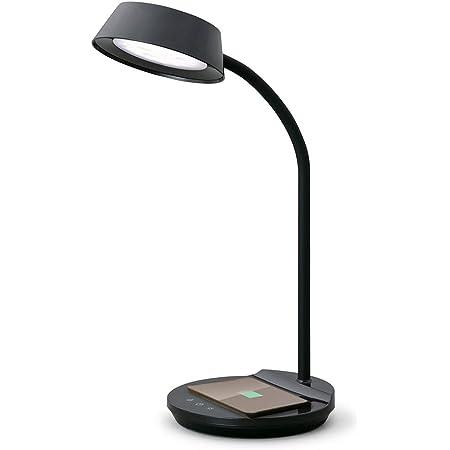 アイリスオーヤマ LEDデスクライト 置くだけ充電 USB給電ポート付 調色3段階 調光無段階 Qiワイヤレス充電 高演色性 LDL-QFDL-B ブラック