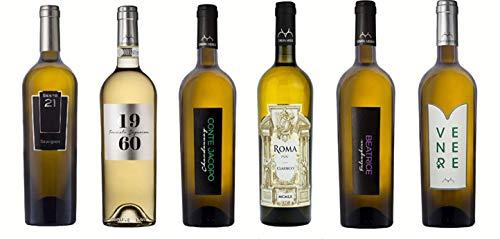 Box 6 Bottiglie Vino Bianco - Sesto 21 -'Conte Jacopo' -'1960' Frascati Sup.-'Beatrice' -'Venere' - Roma Doc Classico - 750 ml - Casata Mergè - Sesto 21